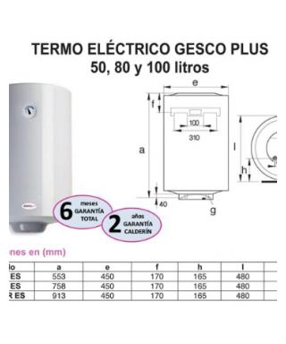 TERMO ELECTRICO GESCO PLUS 80L